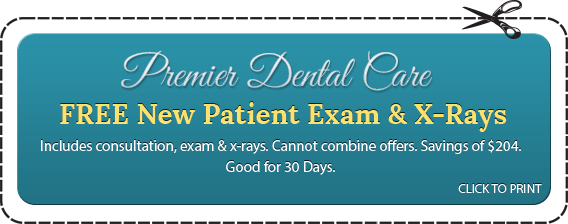 Premier Dental Care FREE New Patient Exam & X-Rays Includes consultation, exam & x-rays. Cannot combine offers. Savings of $204. Good for 30 Days. CLICK TO PRINT