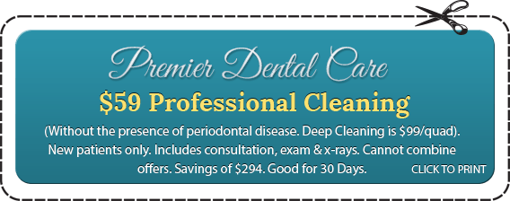 Premier Dental Care $59 Professional Cleaning (Without the presence of periodontal disease. Deep Cleaning is $99/quad). New patients only. Includes consultation, exam &x-rays. Cannot combine offers. Savings of $294. Good for 30 Days. CLICK TO PRINT